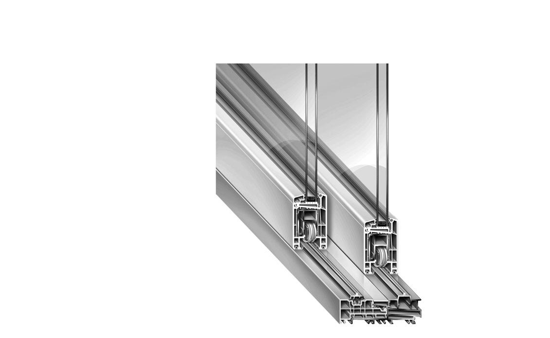 scorrevole alzante in vetroresina con soglia media