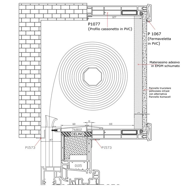 Sezione verticale del cassonetto all'italiana